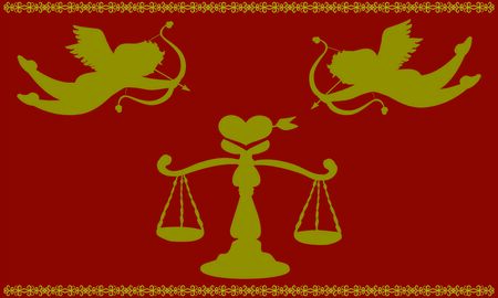 Love Scale and Cupid red and gold silhouette