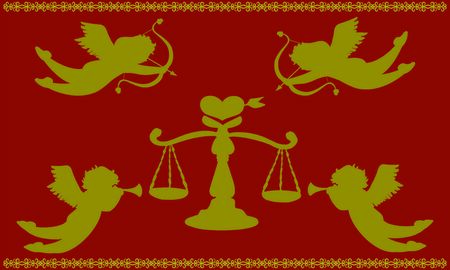 Cupid and scale of love red and gold silhouette