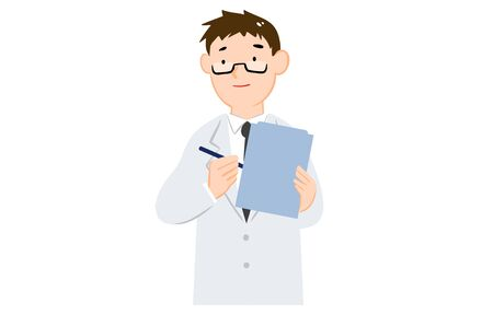 Illustration of a man in a white coat interviewing