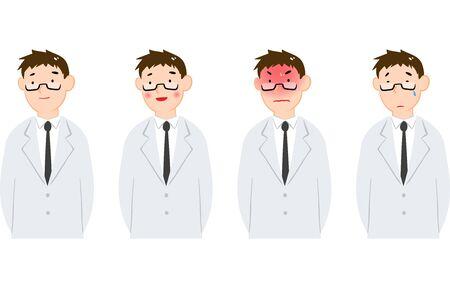 White coat Men's emotional expression set Vectores