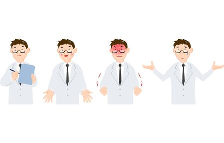 Men's emotions set in white coat