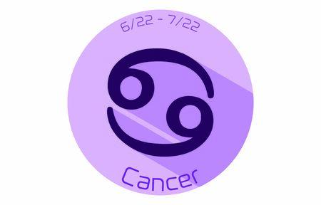 12 constellation purple icons: vector illustration: Cancer  イラスト・ベクター素材