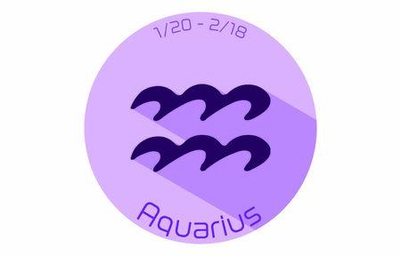 12 constellation purple icons: vector illustration: Aquarius