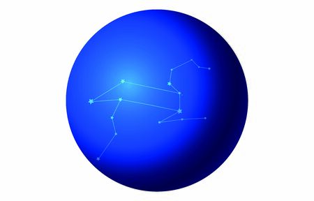 12 constellation blue icons: Vector illustration: Leo