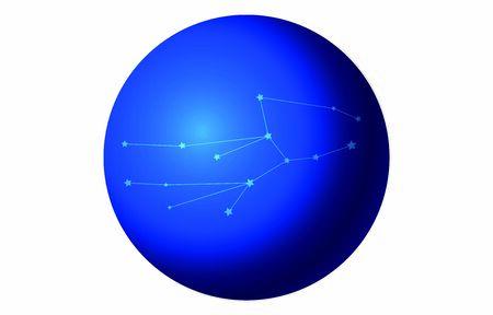 12 constellation blue icons: vector illustration: Virgo