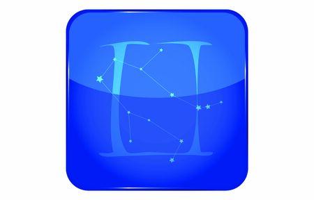 12 constellation blue icons: vector illustration: Gemini  イラスト・ベクター素材