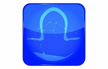 12 constellation blue icons: vector illustration: Libra