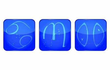 12 constellation icons: water attributes: Cancer, Scorpio, Pisces