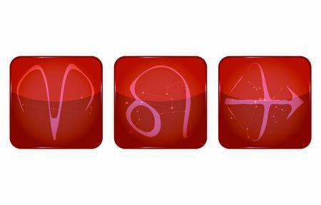 12 constellation icons: Fire attributes: Aries, Leo, Sagittarius