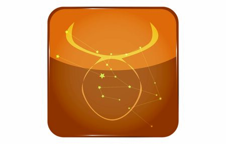 12 constellations yellow button icon with star shape added: Taurus