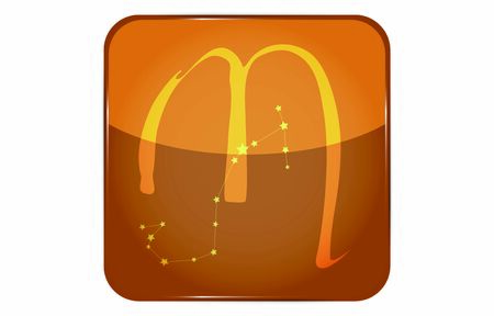 12 constellation yellow button icon with star shape: Scorpio