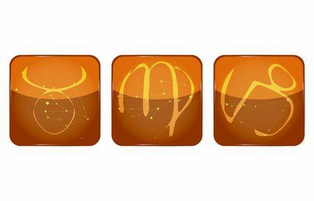 12 constellation icons: earth attributes: Taurus, Virgo, Capricorn