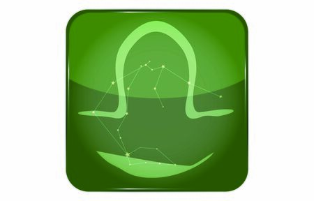 12 constellations green button icon with star shape: Libra