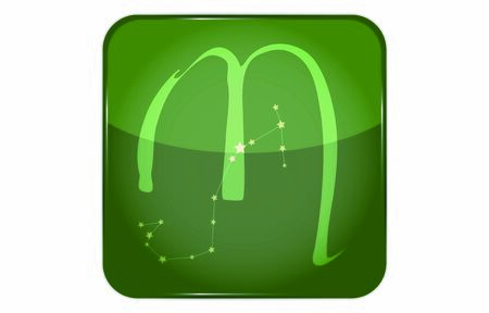 12 constellations green button icon with star shape: Scorpio