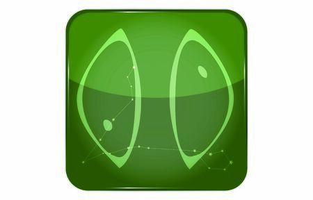 12 constellations green button icon with star shape added: Pisces