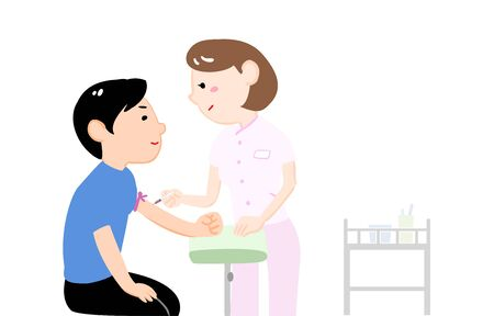 Illustration of a female nurse drawing a blood test and a male drawing blood Illustration