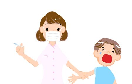 Illustration of a man and a female nurse who dislike vaccination