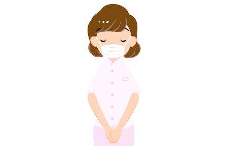 Illustration of a female nurse bowing with both hands aligned
