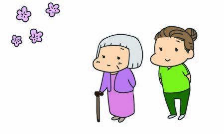 Nursing care, elderly people, cherry blossom blossom Ilustração