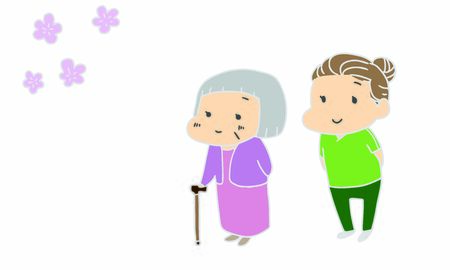 Nursing care, elderly people, cherry blossom viewing