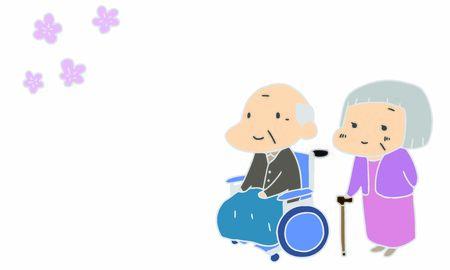 Nursing care, elderly people, cherry blossom viewing
