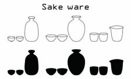 Sake bottle silhouette set of sake
