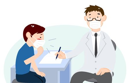 Illustration of a Patient Telling Doctors Symptoms in the Exam Room