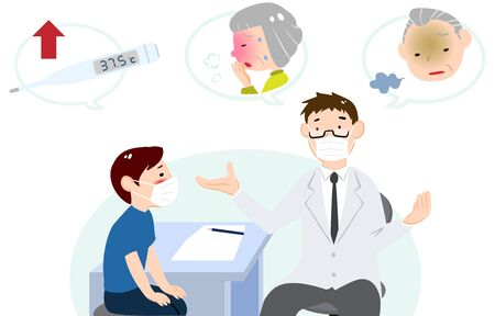 Illustration of a patient listening to a doctor's explanation in an examination room Vektorgrafik