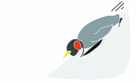Illustration of an anthropomorphic penguin office worker moving with a toboggan Illustration