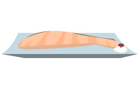 Illustration of grilled salmon with grated radish