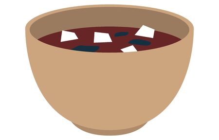 Illustration of miso soup with tofu and seaweed