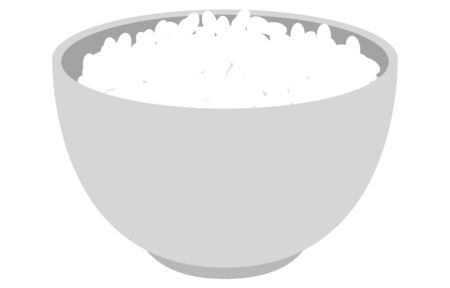Illustration of gray bowl and white rice