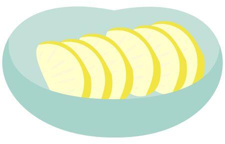 Illustration of pickled vegetables in a green bowl  イラスト・ベクター素材
