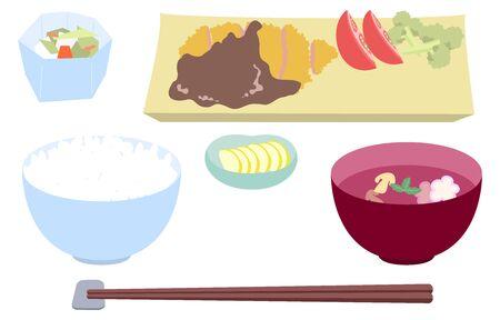 Image illustration of tonkatsu set meal