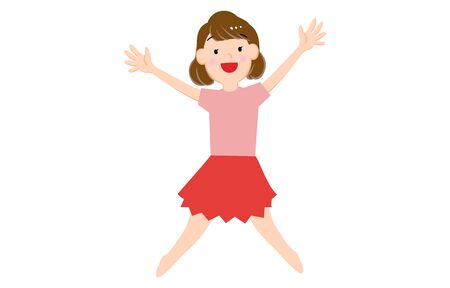 Illustration of a girl jumping with open arms  イラスト・ベクター素材