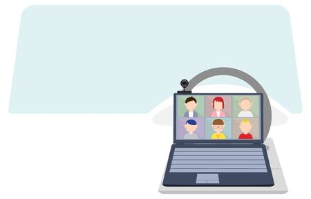 Image illustration of online meeting of people teleworking by car