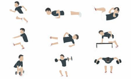 Exercise: Various types of muscle training Stock Illustratie