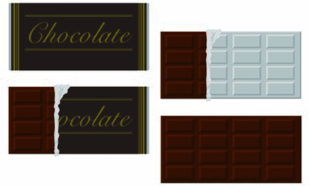 From packaged black chocolate to peeled silver paper Illustration