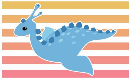 Dinosaur waterside dinosaur vector illustration - white border