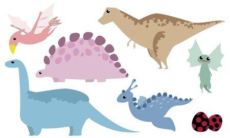 Dinosaur set: Tyrannosaurus, Stegosaurus, Brachiosaurus, Dilophosaurus, Archeopteryx, Egg