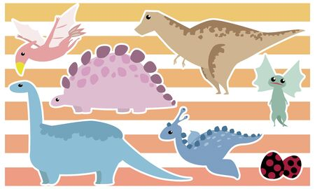 Dinosaur set: Tyrannosaurus, Stegosaurus, Brachiosaurus, Dilophosaurus, Archeopteryx, Egg - white border