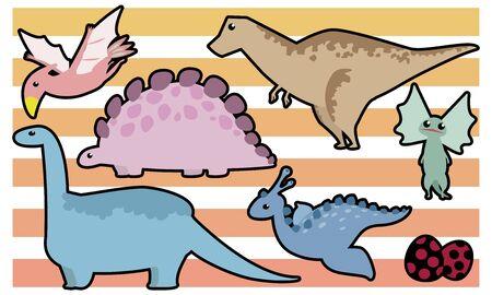 Dinosaur set: Tyrannosaurus, Stegosaurus, Brachiosaurus, Dilophosaurus, Archeopteryx, Egg - black border
