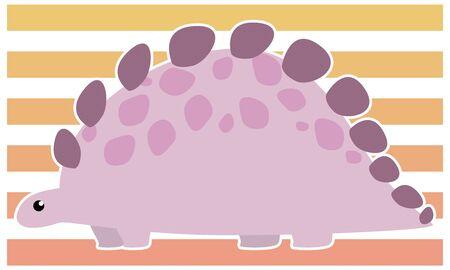 Dinosaur stegosaurus vector illustration - white border Иллюстрация