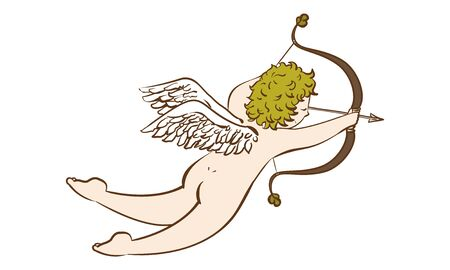 Illustration of a cupid shooting an arrow of love antique style
