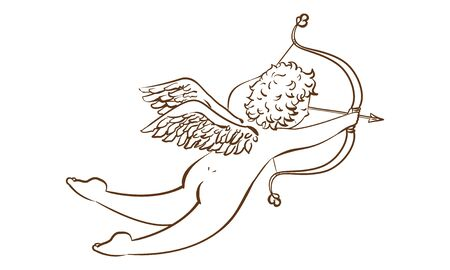 Illustration of a cupid shooting an arrow of love antique style ~ Black and white ~  Vectores