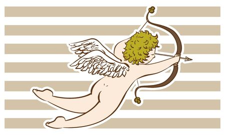 Illustration of a cupid shooting an arrow of love antique style ~ With white frame ~