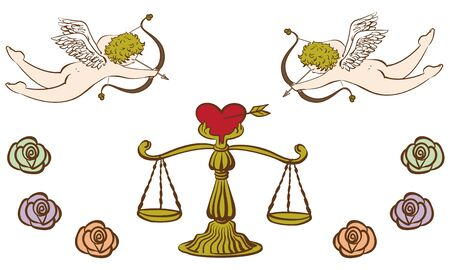 Cupid and heart balance shooting an arrow of love antique style