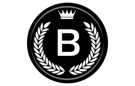Vector illustration of monochrome alphabet medal, B