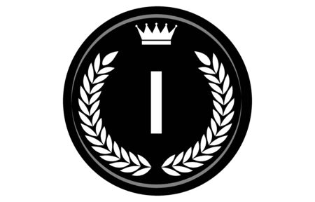Vector illustration of monochrome alphabet medal, I