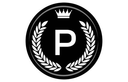 Vector illustration of monochrome alphabet medal, P